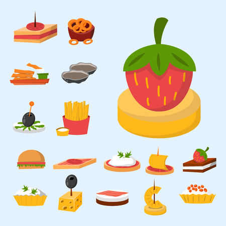 starter: Various meat fish cheese banquet snacks on banquet platter canape snacks appetizer delicious vector.