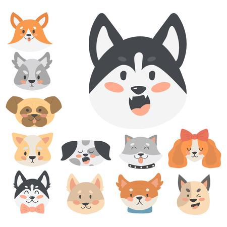 dachshund: Funny cartoon dog character heads bread cartoon puppy friendly adorable canine vector illustration.