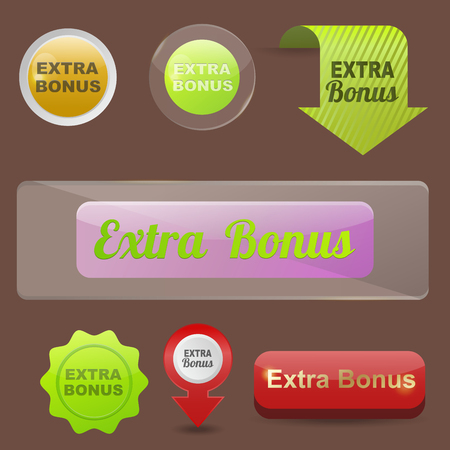 icons site search: Colorful website extra bonus buttons design vector illustration glossy graphic label template banner.