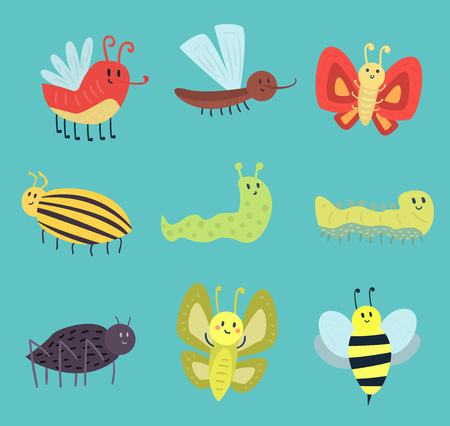 stag beetle: Colorful insects icons isolated wildlife wing detail summer worm caterpillar bugs wild vector illustration.