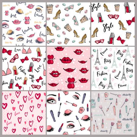 Stylish vintage motive fashion seamless pattern pink cosmetics accessories vector illustration.