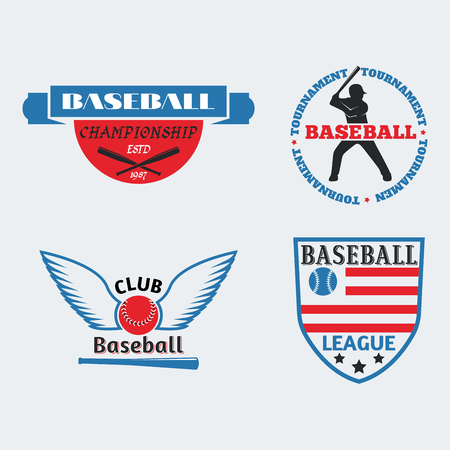 Tournament competition graphic champion professional blue red baseball logo badge sport vector. Stock Vector - 77094992