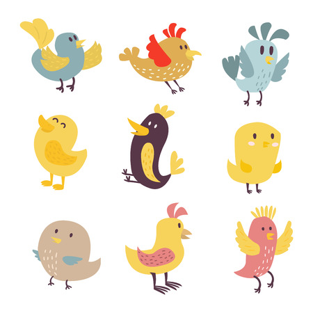 Cute birds vector set illustration cartoon colorful
