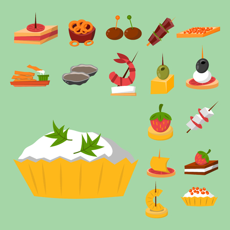 Various meat fish cheese banquet snacks on banquet platter canape snacks appetizer delicious vector.