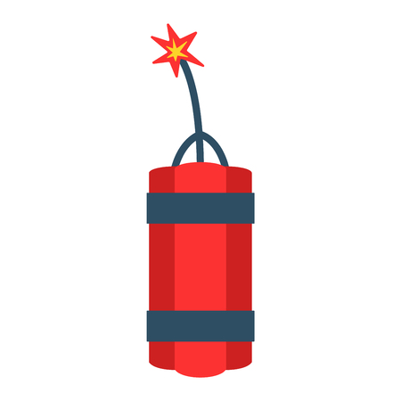 Dynamite bomb with burning wick danger explosive weapon flat vector