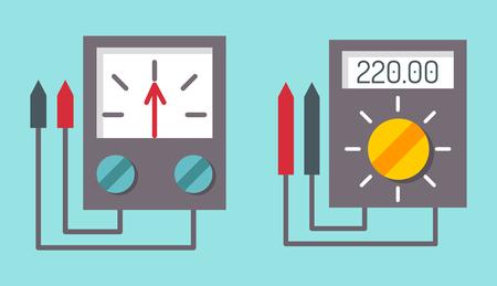 Multimeter electrical measurement technology equipment tool voltmeter electronic test vector illustration. Vector Illustration
