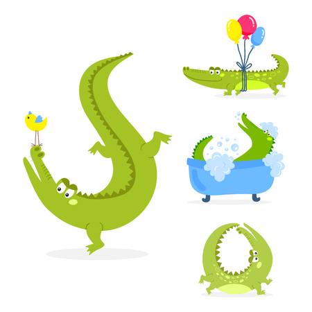 Cartoon green crocodile funny predator australian wildlife river reptile alligator flat vector illustration. Ilustrace
