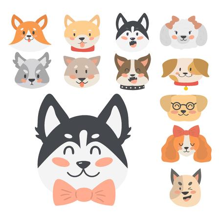 Caricature drôle de chien tête chefs pain dessin animé chiot amical adorable illustration vectorielle canine. Banque d'images - 77299637