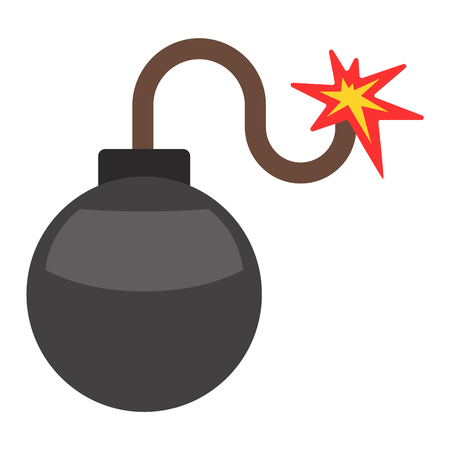Bomb with burning wick vector illustration dynamite danger explosive weapon