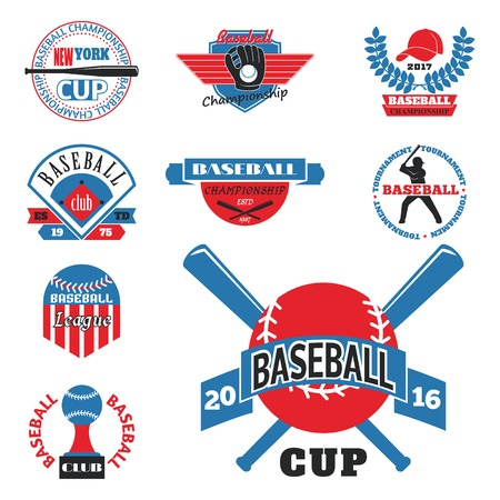 Tournament competition graphic champion professional blue red baseball logo badge sport vector. Illustration