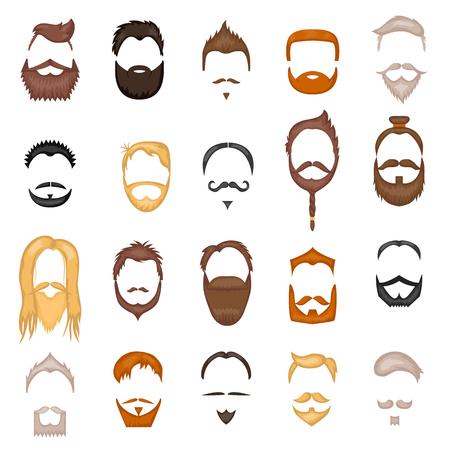 Beard and hair man face mask hairstyle cartoon vector collection