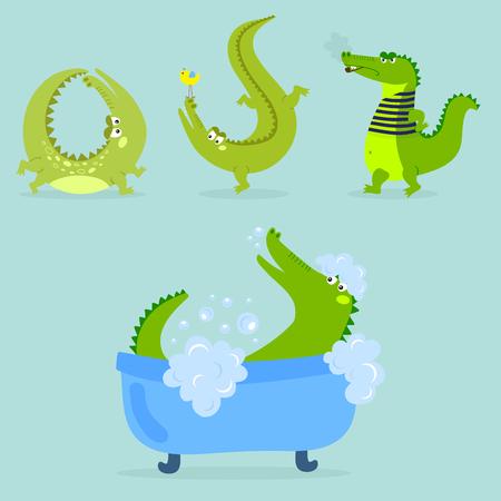 만화 녹색 악어, 재미있는, 포식자, 오스트 레일 리아, 야생 동물, 강물, 파충류,