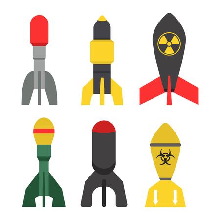 Missile, fusée, ensemble, icône, vecteur, illustration, dessin animé, isolé, bombe, plat, style, blanc, fond Banque d'images - 77460165