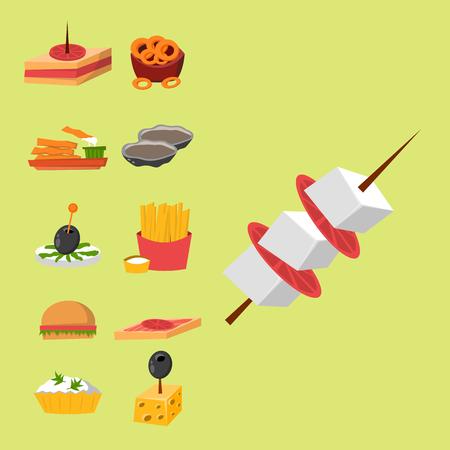 Diverse de banketsnacks van het vleesvissen kaas op heerlijke de schotels van het banketschotel canape snacks.