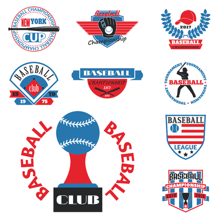 Tournament competition graphic champion professional blue red baseball logo badge sport. Stock Vector - 77403954