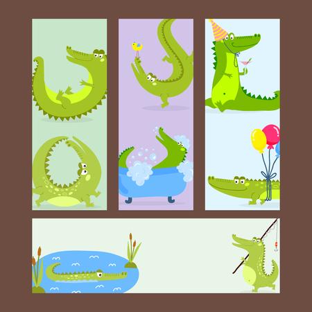 Cartoon green crocodile funny predator australian wildlife river reptile alligator flat vector illustration. Çizim