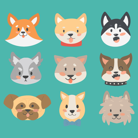 yorkshire: Funny cartoon dog character heads bread cartoon puppy friendly adorable canine vector illustration.