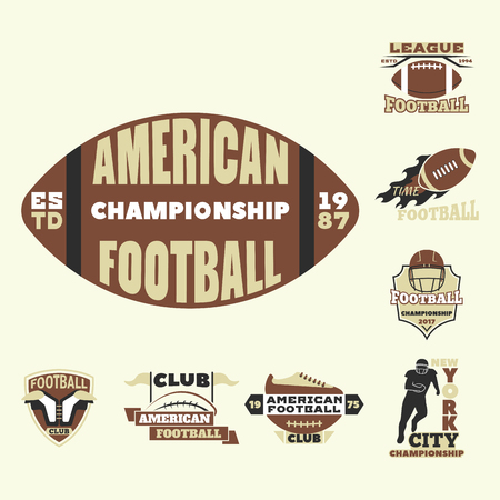 American football championship badge template for sport team with ball logo competition vector. Illustration