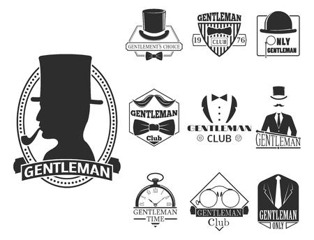 Vintage style design hipster gentleman vector illustration badge black silhouette element. Illustration