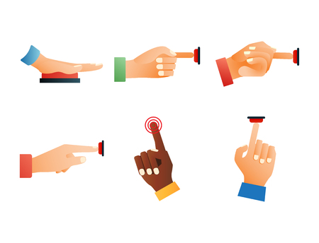 Hand press red button finger press control push pointer gesture human body part vector illustration.