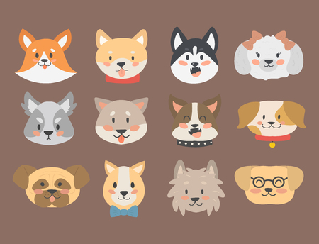 Funny cartoon dog character heads breed cartoon puppy friendly adorable canine vector illustration.