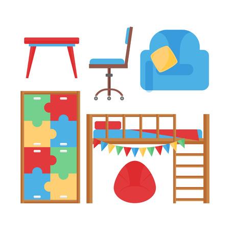 快適な居心地の良い赤ちゃんルーム装飾子供ベッドルームのインテリア家具とおもちゃのベクトルを持つ。