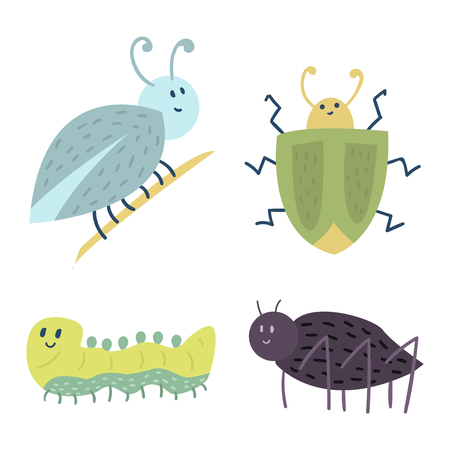 Colorful insects icons isolated wildlife wing detail summer caterpillar bugs wild vector illustration. Illustration