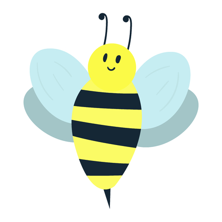 Cartoon sweet yellow bee summer worker bug with antenna european western honey nature nector. Illustration