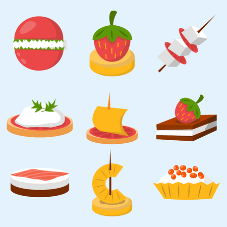 Verschiedene Fleisch Fisch Käse Bankett Snacks auf Bankett Platte Canape Snacks Vorspeise köstliche Vektor. Standard-Bild - 77631723