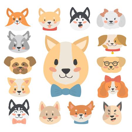 Funny cartoon dog character heads bread cartoon puppy friendly adorable canine vector illustration.