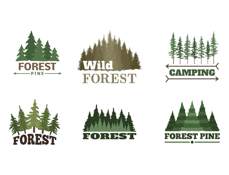 Tree outdoor travel green silhouette forest badge coniferous natural logo badge tops pine spruce vector. Иллюстрация