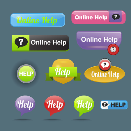 icons site search: Colorful website online help buttons design vector illustration glossy graphic label template banner. Illustration