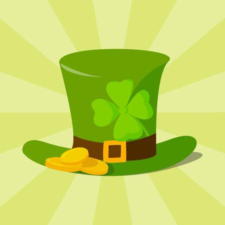 Chapeau de lutin matière verte avec bande de cuir marron arborant l'illustration vectorielle or shamrock et boucle. Banque d'images - 77653059