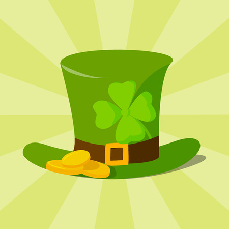 Green material leprechaun hat with brown leather band emblazoned with gold shamrock and buckle vector illustration.