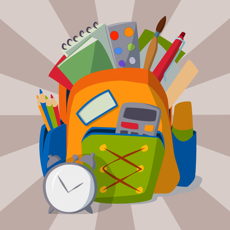 Student Life: Backpack full of school supplies student baggage equipment education object vector illustration