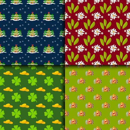 Happy holidays different seamless pattern vector holidays symbols decoration traditional celebration.