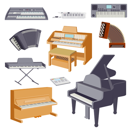 Keyboard musical instruments isolated on white classical musician equipment vector illustration Stock Illustratie