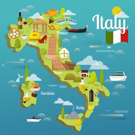 다채로운 이탈리아어 여행지도 매력 기호 이탈리아어 관광 세계 건축 벡터 일러스트 레이션 일러스트