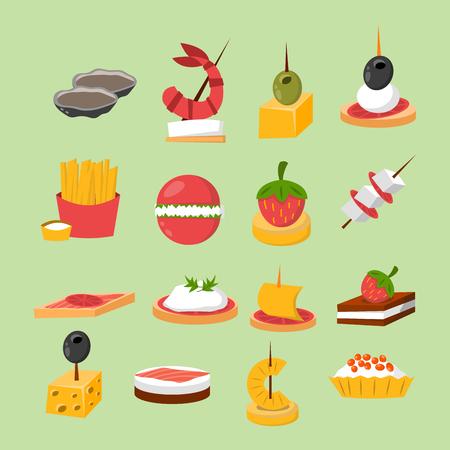 Divers viande poisson-fromage banquet snacks sur plate-forme de banquets canapé snacks apéritif délicieux vecteur. Vecteurs