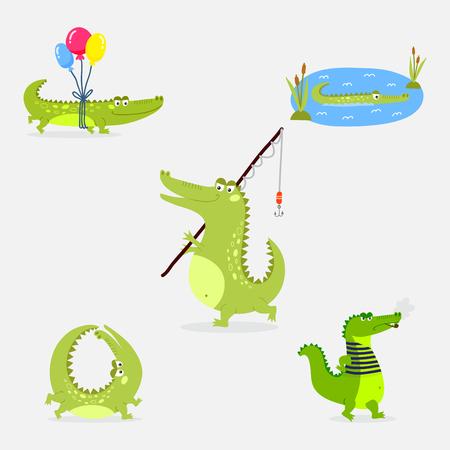 Cartoon green crocodile funny predator australian wildlife river reptile alligator flat vector illustration. Illustration