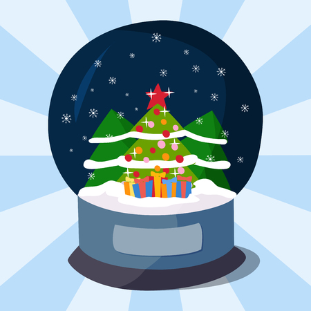Snow clobe christmas magic ball transparent realistic design holiday celebration magic vector illustration. Illustration