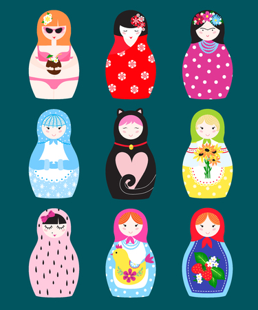 Traditional russian matryoshka toy nesting doll vector illustration.