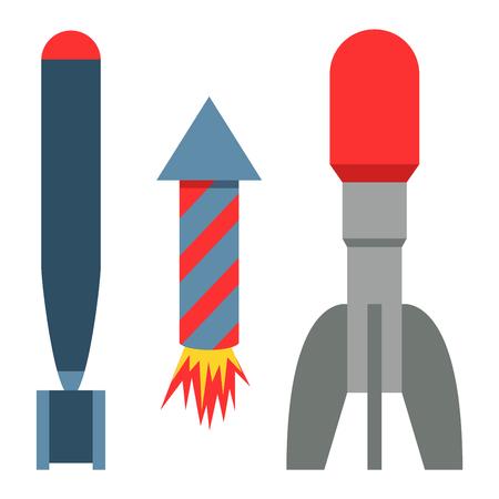 Fusée missile mis icône vector illustration dessin animé isolé bombe style plat fond blanc menace Banque d'images - 77664913