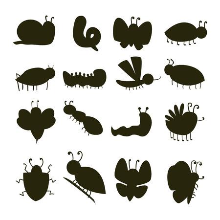 カラフルな昆虫シルエット アイコン分離野生動物翼詳細キャタピラー バグ野生のベクトル図です。  イラスト・ベクター素材