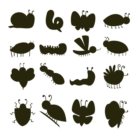 Colorful insects silhouette icons isolated wildlife wing detail caterpillar bugs wild vector illustration. Illustration