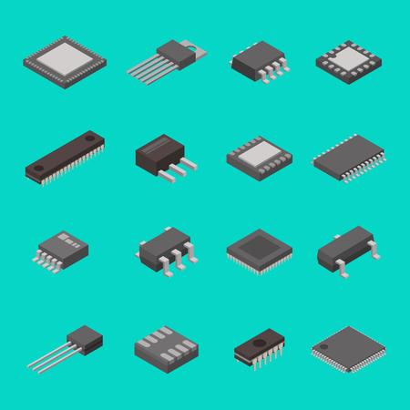 transistor: Aislados microchip semiconductor computadora componentes electrónicos iconos isométricos ilustración vectorial