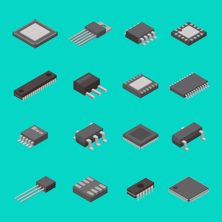 Isolated microchip semiconductor computer electronic components isometric icons vector illustration Çizim