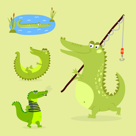 scaly: Cartoon green crocodile funny predator australian wildlife river reptile alligator flat vector illustration. Illustration