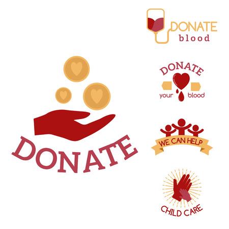 Volontario icone rosse carità donazione vettoriale set consapevolezza umanitaria mano speranza sostegno segni simboli.