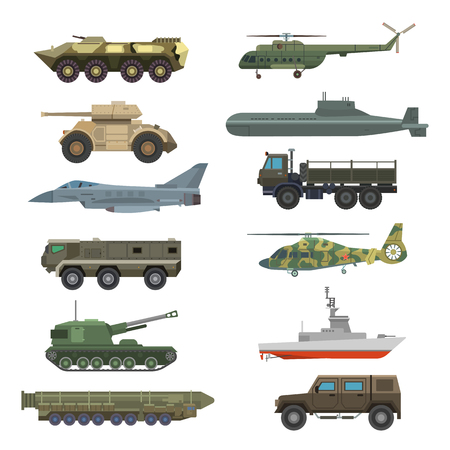 Military technic transport equipment armor flat vector illustration isolated on white background